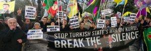 """""""Fermiamo la guerra dello Stato turco contro i Curdi, rompiamo il silenzio"""": le proteste della società civile. Fonte: https://zcomm.org/znet"""